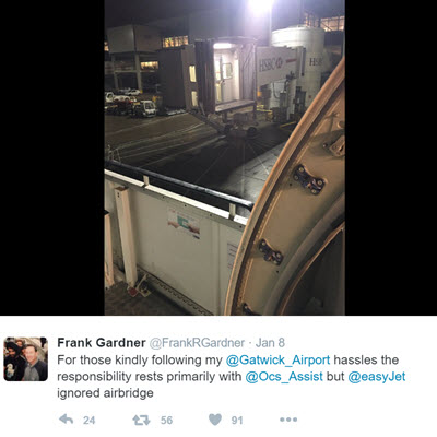 Frank Gardner Tweet on airbridge