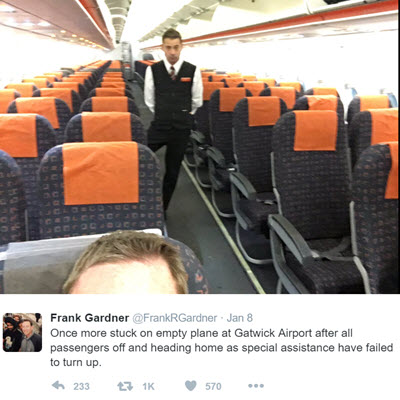 Frank Gardner Tweet on delayed assistance