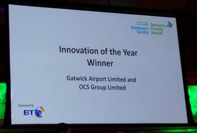 Gatwick airport and OCS win Dementia Friendly Innovation 2016