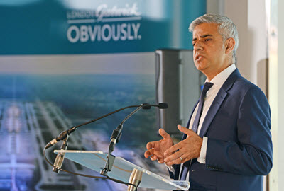 London Mayor Sadiq Khan speaking at Gatwick airport