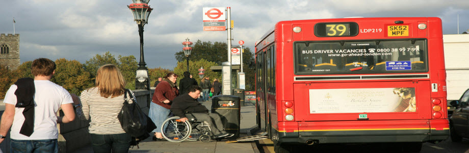 A disabled person trying to access public transport in London