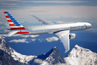 American Airlines Boeing 777 in flight