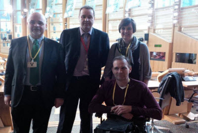 From right: John Findlay, Neil Findlay MSP, Roberto Castiglioni