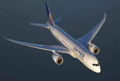 United Airlines plane in flight