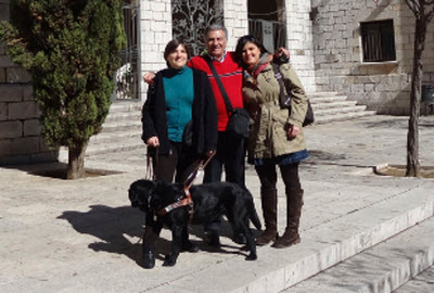 Daniela Rubio Trujillo with her guide dog Kara