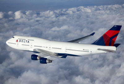 Delta Air Lines Boeing 747 in flight