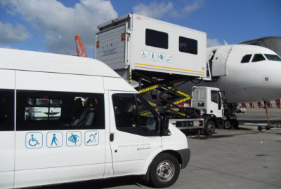 Ambulift in operation at Gatwick airport