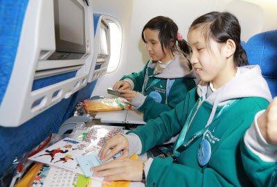 Visually impaired passengers on Cathay Pacific Community Flight 2015