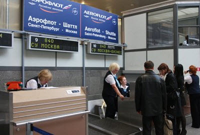 Aeroflot check-in desk
