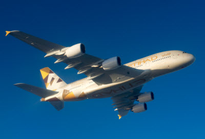 Etihad Airways Airbus A380 in flight