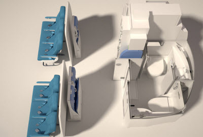 Space-Flex lavatory in wheelchair accessible configuration